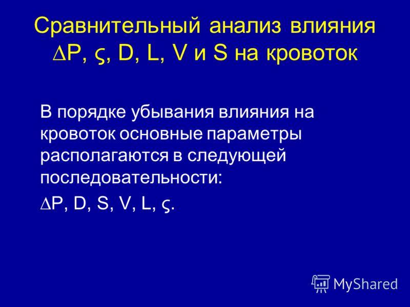 Сравнительный анализ влияния P, ς, D, L, V и S на кровоток В порядке убывания влияния на кровоток основные параметры располагаются в следующей последовательности: P, D, S, V, L, ς.