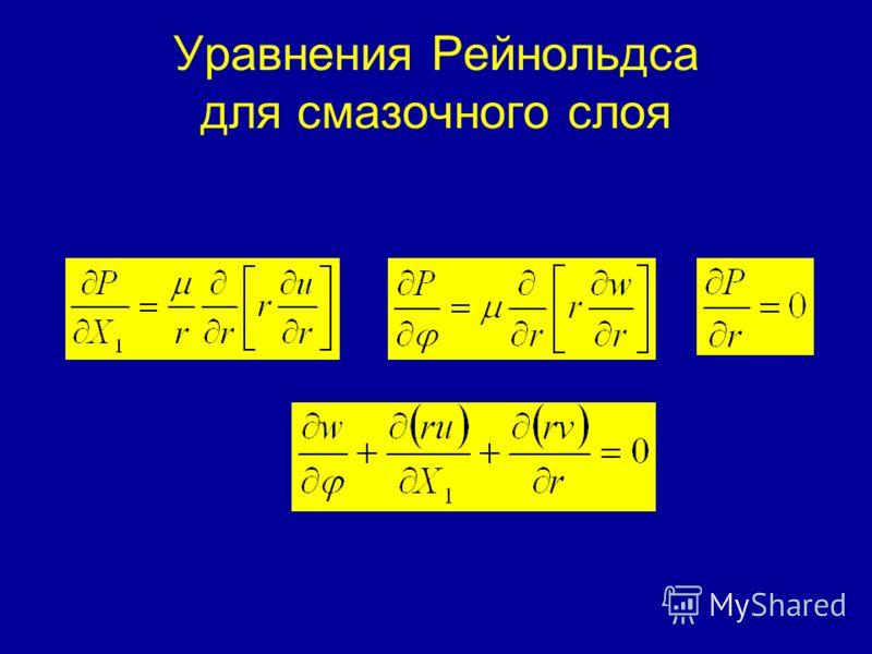 Уравнения Рейнольдса для смазочного слоя