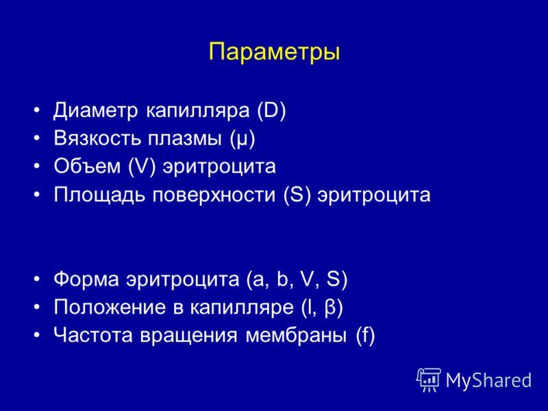 Параметры Диаметр капилляра (D) Вязкость плазмы (μ) Объем (V) эритроцита Площадь поверхности (S) эритроцита Форма эритроцита (a, b, V, S) Положение в капилляре (l, β) Частота вращения мембраны (f)