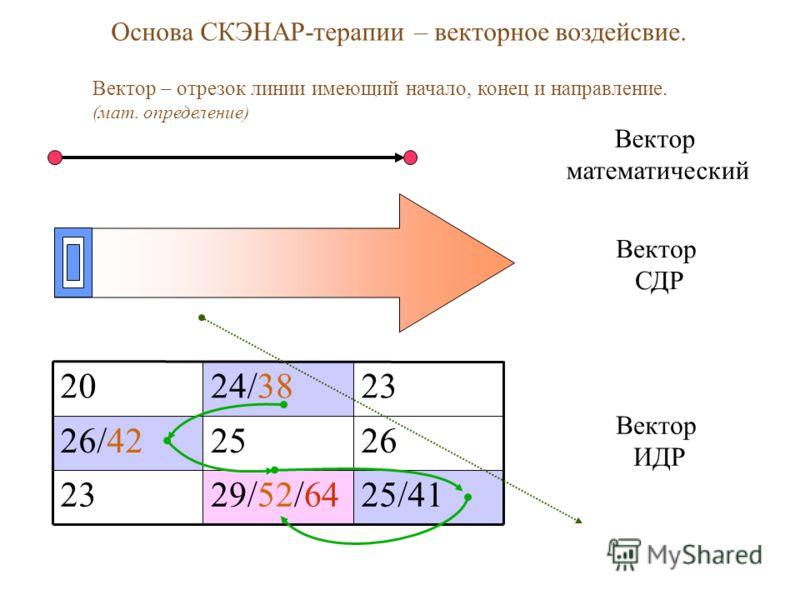 Основа СКЭНАР-терапии – векторное воздейсвие. Вектор – отрезок линии имеющий начало, конец и направление. (мат. определение) 25/4129/52/6423 262526/42 2324/3820 Вектор математический Вектор СДР Вектор ИДР