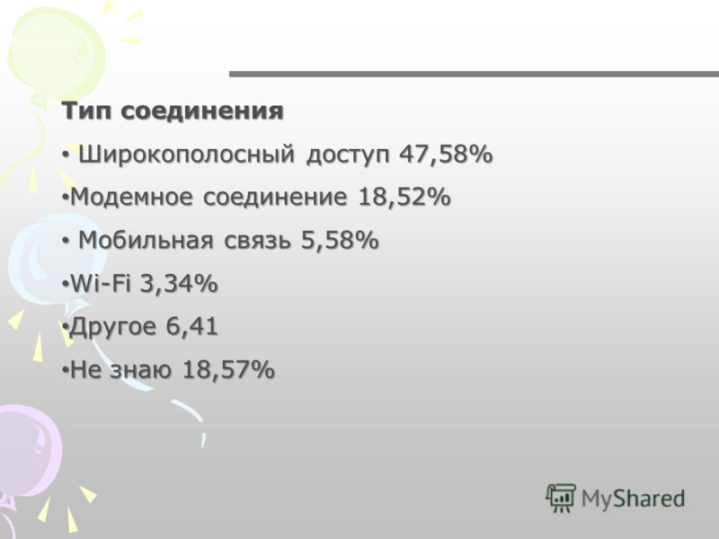 Тип соединения Широкополосный доступ 47,58% Широкополосный доступ 47,58% Модемное соединение 18,52% Модемное соединение 18,52% Мобильная связь 5,58% Мобильная связь 5,58% Wi-Fi 3,34% Wi-Fi 3,34% Другое 6,41 Другое 6,41 Не знаю 18,57% Не знаю 18,57%