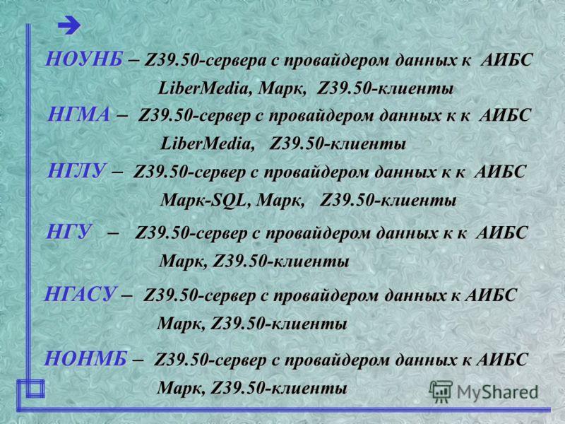 Z39.50-серверы: Z39.50-клиенты: D3ZServer (Москва, ЗАО «Либер») D3ZServer (Москва, ЗАО «Либер») ZooPARK (Новосибирск, ОИГГиМ СО РАН) ZooPARK (Новосибирск, ОИГГиМ СО РАН) Z-Navigator 1.0 (EnWare) Z-Navigator 1.0 (EnWare) ZGclient ( разработка ОИГГиМ С