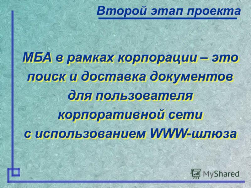 Технология доступа для пользователей Второй этап проекта WWW-интерфейс шлюза Z 39.50 Выдача данных о запросе пользователю информация о наличии документа в Нижегородской корпоративной библиотечной сети