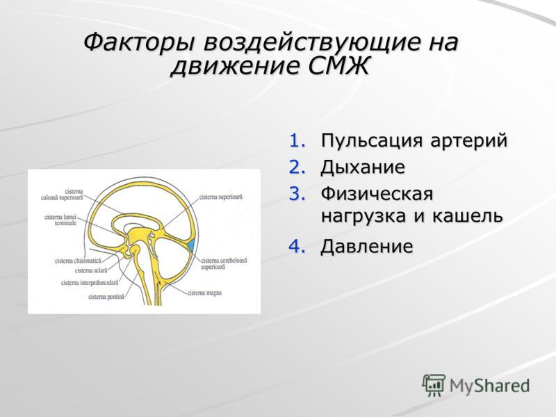 1.Пульсация артерий 2.Дыхание 3.Физическая нагрузка и кашель 4.Давление Факторы воздействующие на движение СМЖ