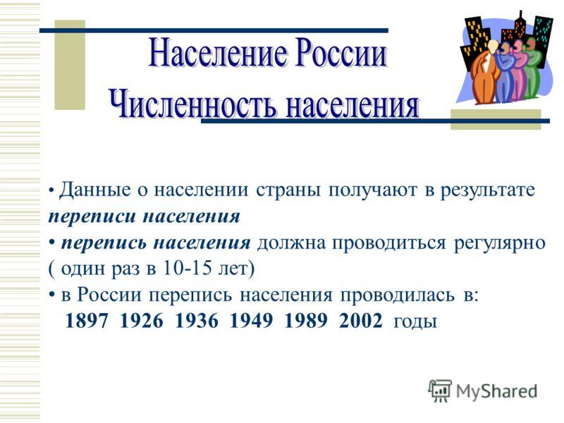 Данные о населении страны получают в результате переписи населения перепись населения должна проводиться регулярно ( один раз в 10-15 лет) в России перепись населения проводилась в: 1897 1926 1936 1949 1989 2002 годы
