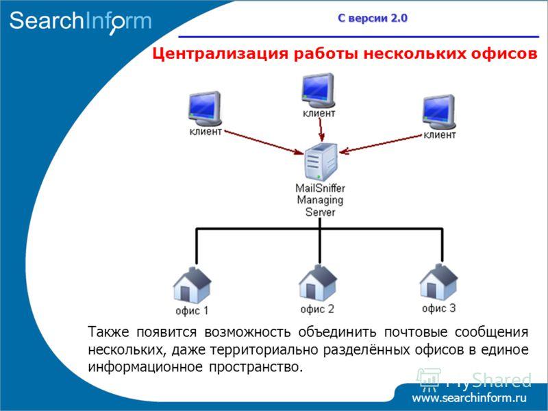 www.searchinform.ru С версии 2.0 Централизация работы нескольких офисов Также появится возможность объединить почтовые сообщения нескольких, даже территориально разделённых офисов в единое информационное пространство.