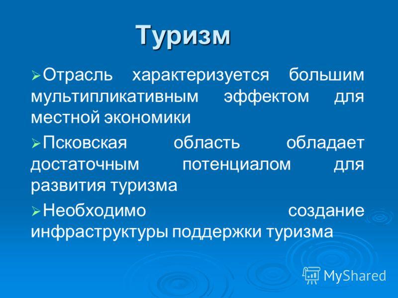 Туризм Отрасль характеризуется большим мультипликативным эффектом для местной экономики Псковская область обладает достаточным потенциалом для развития туризма Необходимо создание инфраструктуры поддержки туризма