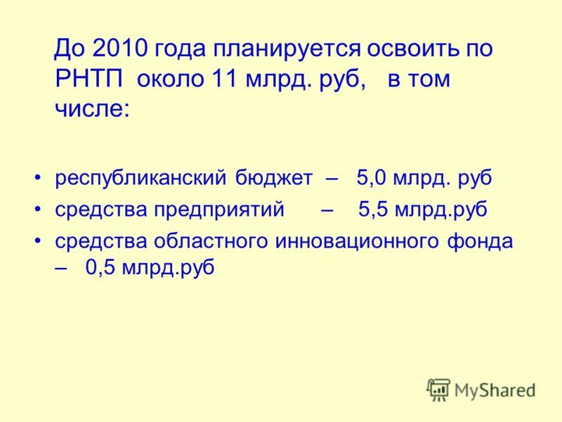 До 2010 года планируется освоить по РНТП около 11 млрд. руб, в том числе: республиканский бюджет – 5,0 млрд. руб средства предприятий – 5,5 млрд.руб средства областного инновационного фонда – 0,5 млрд.руб