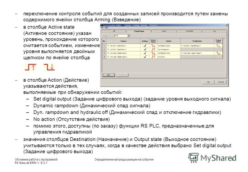 Обучение работе с программой RS BasLab ERM V. E 2.1 Определение матрицы реакции на события6 переключение контроля событий для созданных записей производится путем замены содержимого ячейки столбца Arming (Взведение) в столбце Active state (Активное с