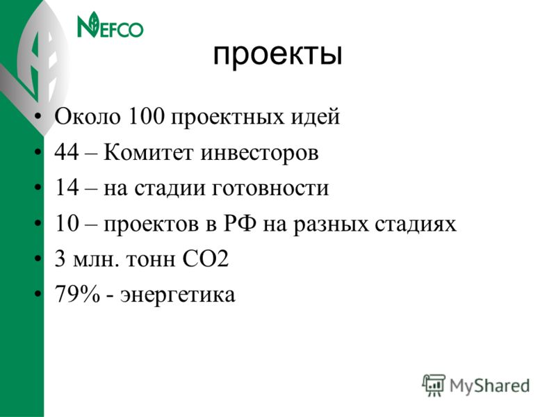 проекты Около 100 проектных идей 44 – Комитет инвесторов 14 – на стадии готовности 10 – проектов в РФ на разных стадиях 3 млн. тонн СО2 79% - энергетика