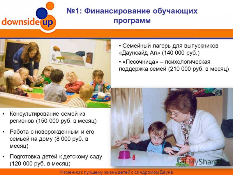 Изменим к лучшему жизнь детей с синдромом Дауна Семейный лагерь для выпускников «Даунсайд Ап» (140 000 руб.) «Песочница» – психологическая поддержка семей (210 000 руб. в месяц) 1: Финансирование обучающих программ Консультирование семей из регионов