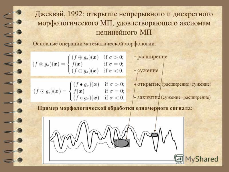Джеквэй, 1992: открытие непрерывного и дискретного морфологического МП, удовлетворяющего аксиомам нелинейного МП Основные операции математической морфологии: - расширение - сужение - открытие (расширение+сужение) - закрытие (сужение+расширение) Приме