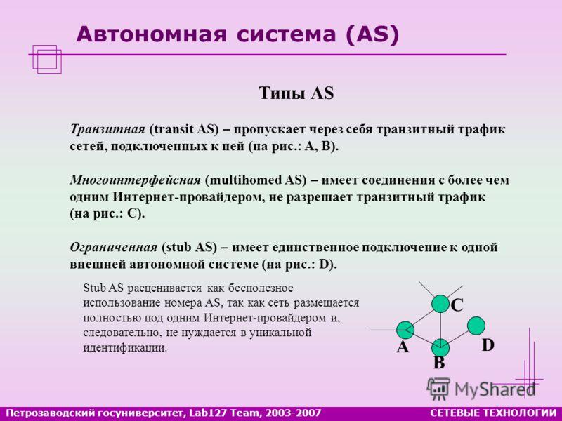 Петрозаводский госуниверситет, Lab127 Team, 2003-2007СЕТЕВЫЕ ТЕХНОЛОГИИ Автономная система (AS) Типы AS Транзитная (transit AS) – пропускает через себя транзитный трафик сетей, подключенных к ней (на рис.: A, B). Многоинтерфейсная (multihomed AS) – и
