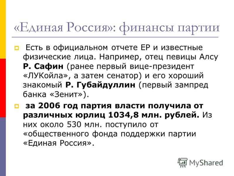 «Единая Россия»: финансы партии Есть в официальном отчете ЕР и известные физические лица. Например, отец певицы Алсу Р. Сафин (ранее первый вице-президент «ЛУКойла», а затем сенатор) и его хороший знакомый Р. Губайдуллин (первый зампред банка «Зенит»