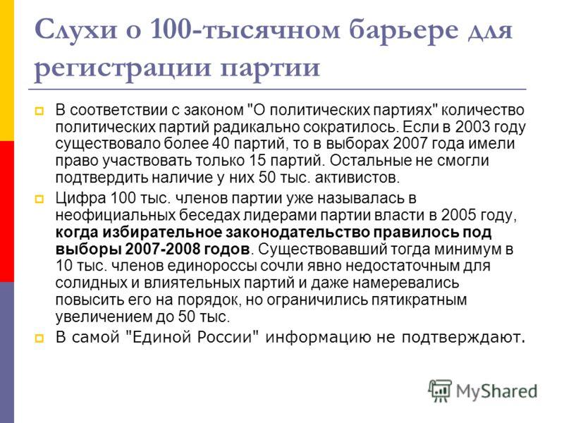 Слухи о 100-тысячном барьере для регистрации партии В соответствии с законом