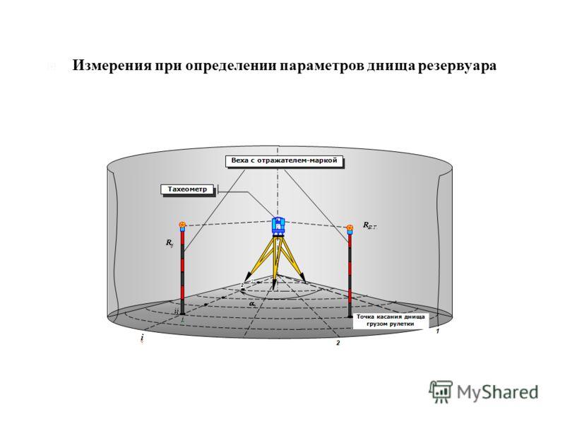 Измерения при определении параметров днища резервуара