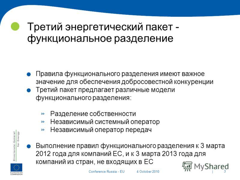 | 3 Conference Russia - EU4 October 2010 Третий энергетический пакет - функциональное разделение. Правила функционального разделения имеют важное значение для обеспечения добросовестной конкуренции. Третий пакет предлагает различные модели функционал