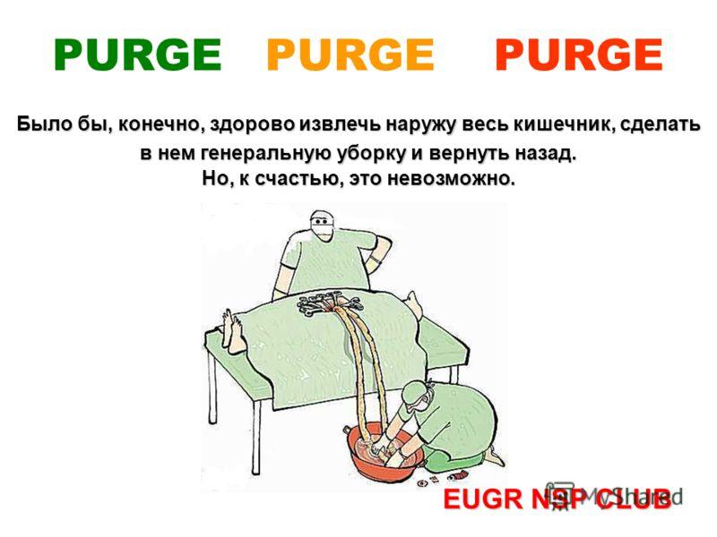 Было бы, конечно, здорово извлечь наружу весь кишечник, сделать в нем генеральную уборку и вернуть назад. Но, к счастью, это невозможно. EUGR NSP CLUB PURGE PURGE PURGE