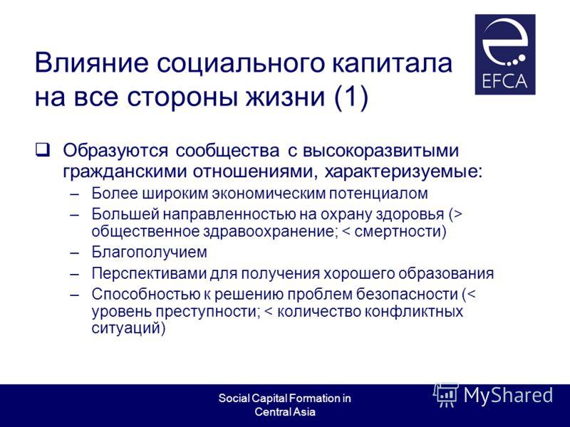 Social Capital Formation in Central Asia Влияние социального капитала на все стороны жизни (1) Образуются сообщества с высокоразвитыми гражданскими отношениями, характеризуемые: –Более широким экономическим потенциалом –Большей направленностью на охр