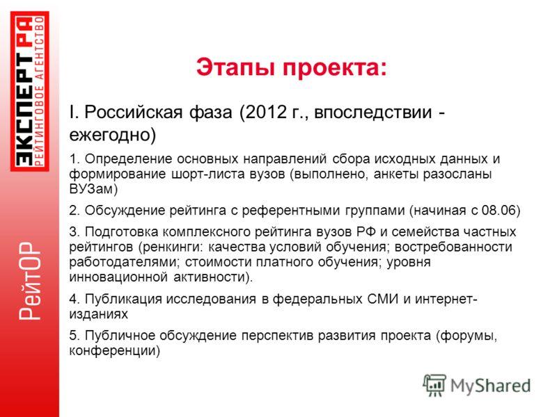 Этапы проекта: I. Российская фаза (2012 г., впоследствии - ежегодно) 1. Определение основных направлений сбора исходных данных и формирование шорт-листа вузов (выполнено, анкеты разосланы ВУЗам) 2. Обсуждение рейтинга с референтными группами (начиная
