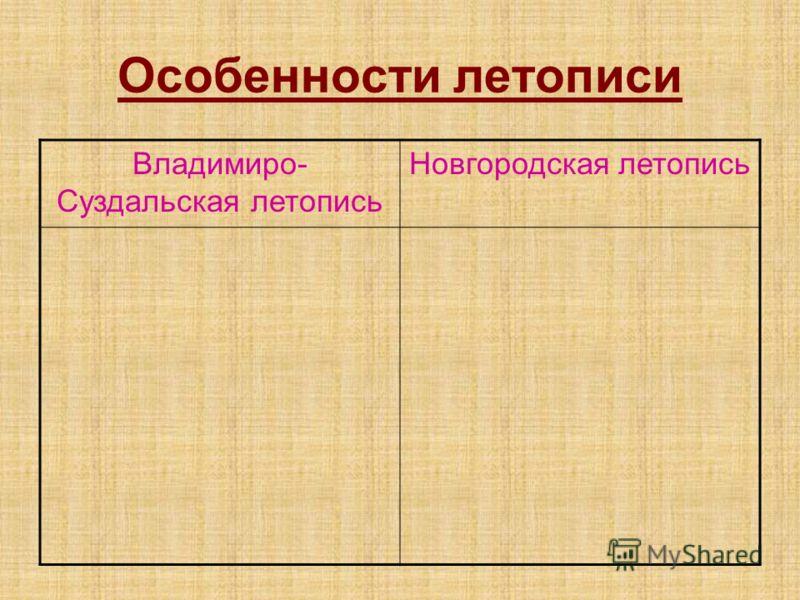 Особенности летописи Владимиро- Суздальская летопись Новгородская летопись