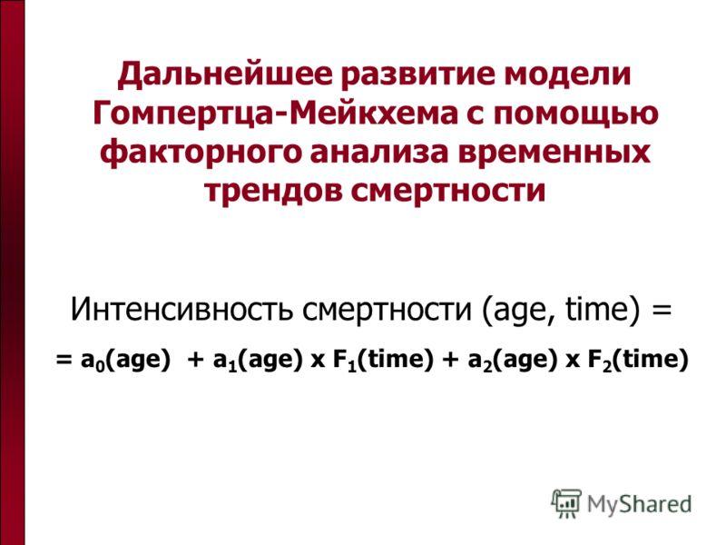 Дальнейшее развитие модели Гомпертца-Мейкхема с помощью факторного анализа временных трендов смертности Интенсивность смертности (age, time) = = a 0 (age) + a 1 (age) x F 1 (time) + a 2 (age) x F 2 (time)
