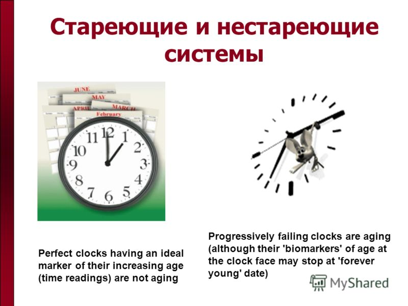 Стареющие и нестареющие системы Perfect clocks having an ideal marker of their increasing age (time readings) are not aging Progressively failing clocks are aging (although their 'biomarkers' of age at the clock face may stop at 'forever young' date)