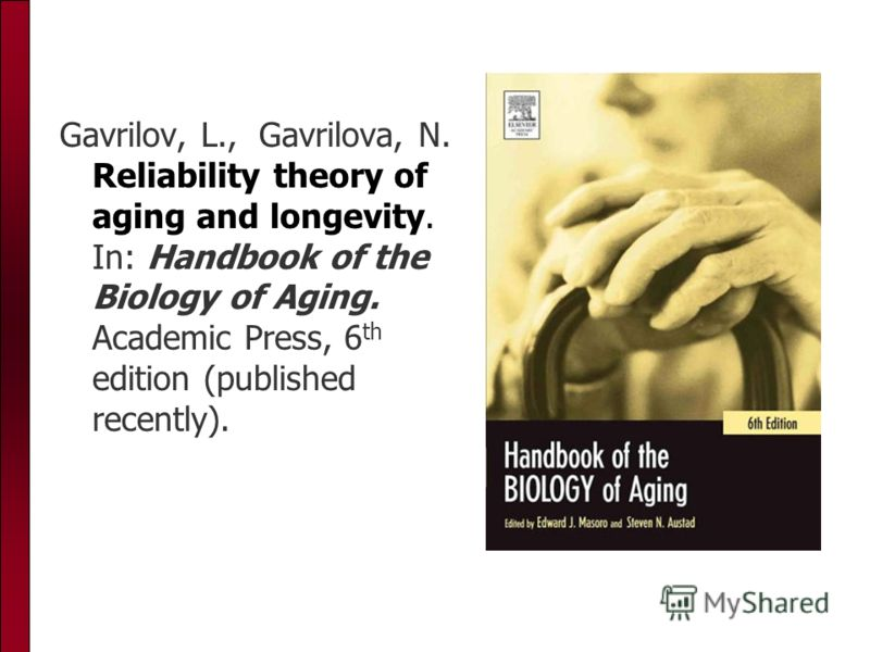 Gavrilov, L., Gavrilova, N. Reliability theory of aging and longevity. In: Handbook of the Biology of Aging. Academic Press, 6 th edition (published recently).