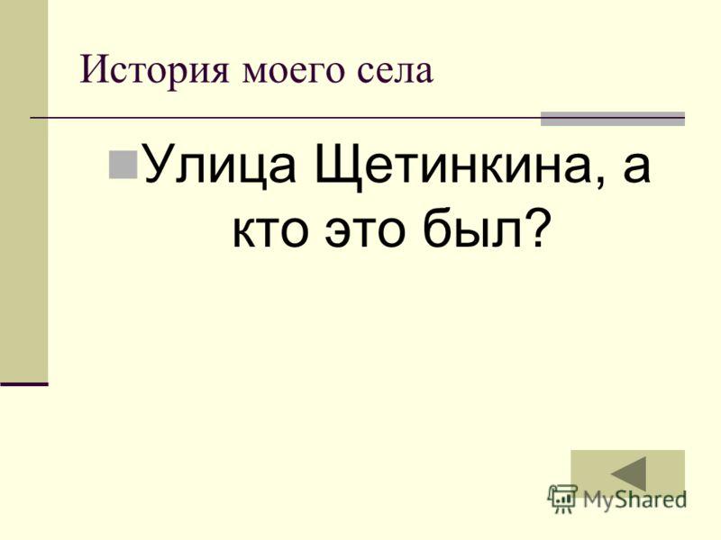 История моего села Улица Щетинкина, а кто это был?