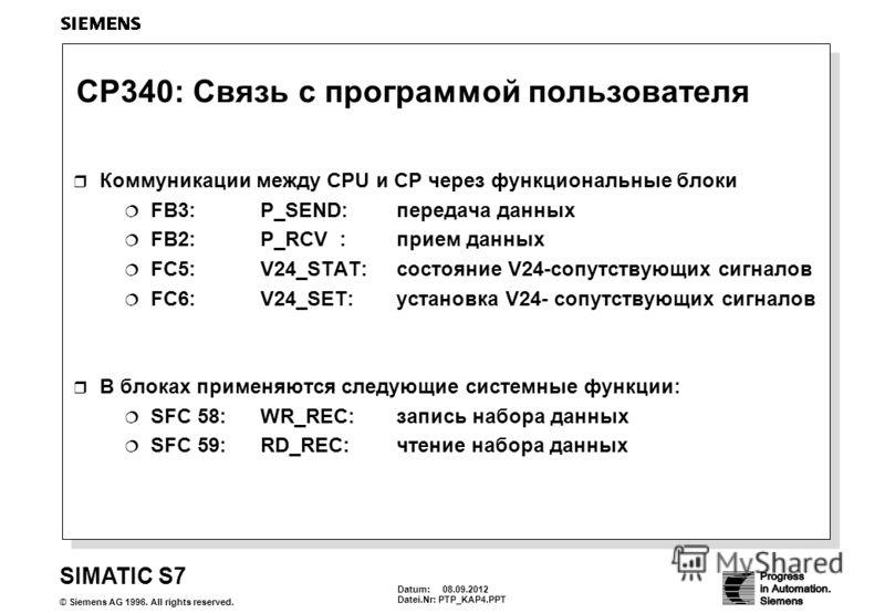 Datum: 08.09.2012 Datei.Nr: PTP_KAP4.PPT SIMATIC S7 © Siemens AG 1996. All rights reserved. CP340: Связь с программой пользователя Коммуникации между CPU и CP через функциональные блоки FB3:P_SEND: передача данных FB2:P_RCV : прием данных FC5: V24_ST