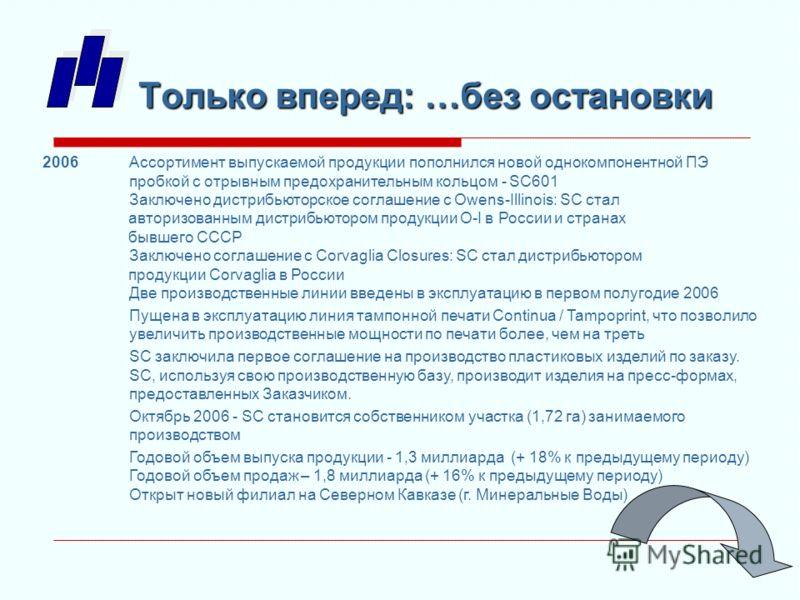 2006Ассортимент выпускаемой продукции пополнился новой однокомпонентной ПЭ пробкой с отрывным предохранительным кольцом - SC601 Заключено дистрибьюторское соглашение с Owens-Illinois: SC стал авторизованным дистрибьютором продукции O-I в России и стр