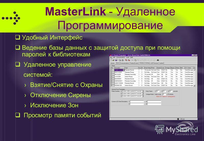 MasterLink Возможности Системы Разделение системы на 2 независимые под-системы Журнал на 100 событий с указанием времени и даты Удаленное программирование с компьютера 15 Кодов Пользователей с различными уровнями доступа Окна Взятия/Снятия 2 программ