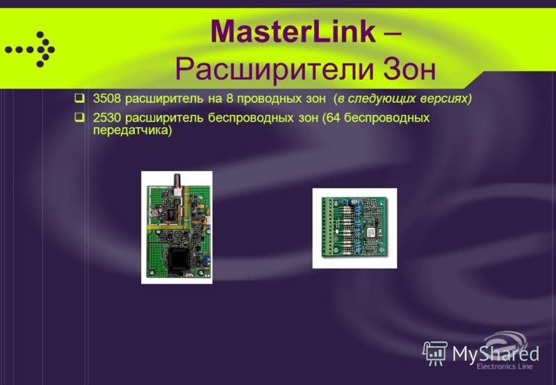 MasterLink - Клавиатуры Подключение до 8 контролируемых клавиатур