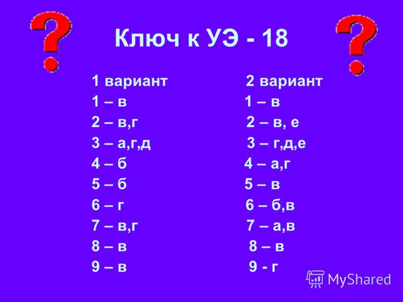 Ключ к УЭ - 18 1 вариант 2 вариант 1 – в 2 – в,г 2 – в, е 3 – а,г,д 3 – г,д,е 4 – б 4 – а,г 5 – б 5 – в 6 – г 6 – б,в 7 – в,г 7 – а,в 8 – в 9 – в 9 - г