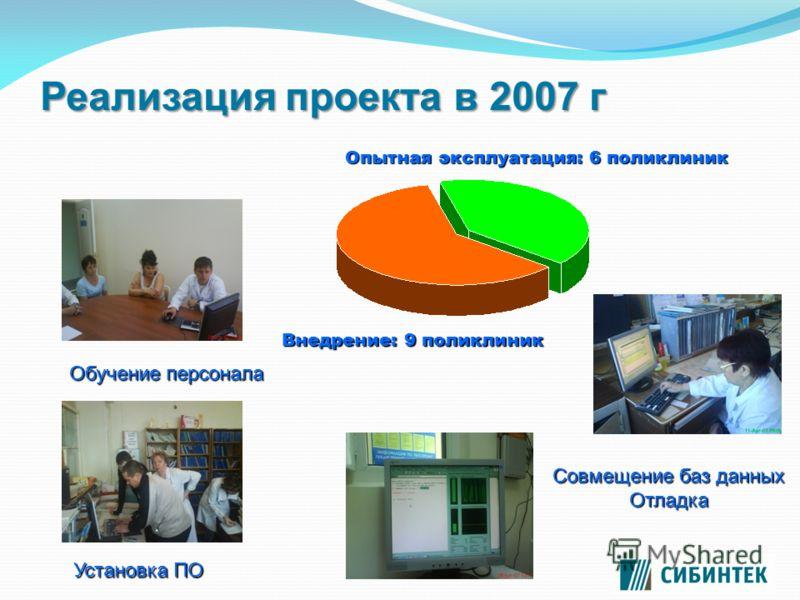 Реализация проекта в 2007 г Обучение персонала Установка ПО Совмещение баз данных Отладка Опытная эксплуатация: 6 поликлиник Внедрение: 9 поликлиник