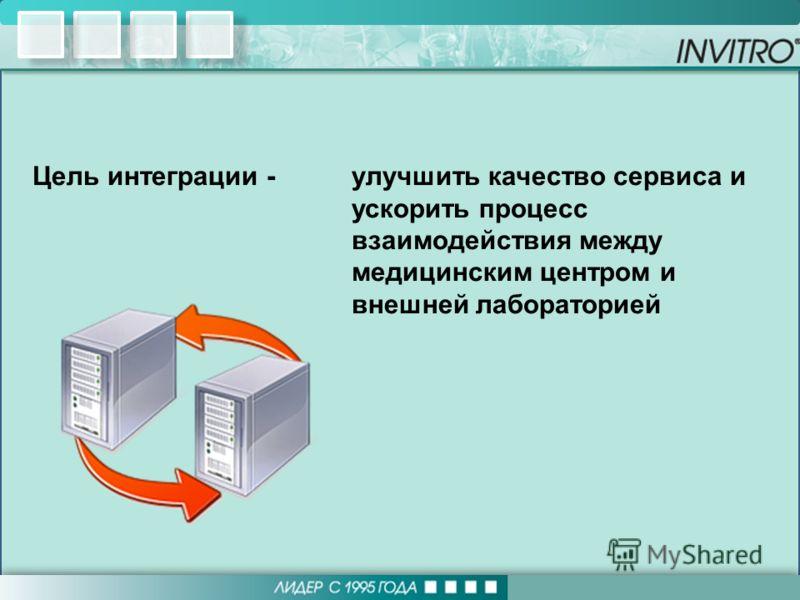 Цель интеграции -улучшить качество сервиса и ускорить процесс взаимодействия между медицинским центром и внешней лабораторией