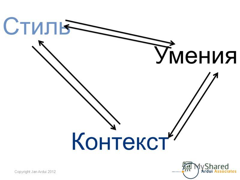 Copyright Jan Ardui 2012 Стиль Умения Контекст
