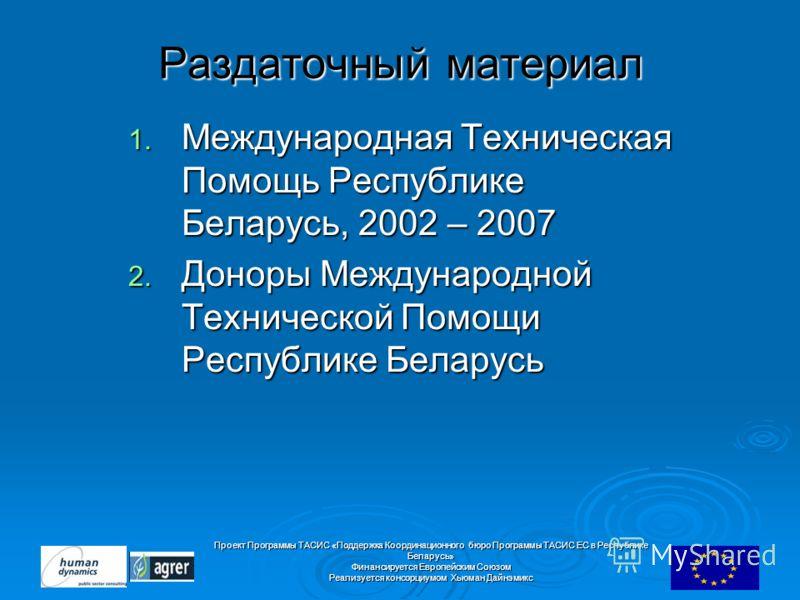 Проект Программы ТАСИС «Поддержка Координационного бюро Программы ТАСИС ЕC в Республике Беларусь» Финансируется Европейским Союзом Реализуется консорциумом Хьюман Дайнэмикс Раздаточный материал 1. Международная Техническая Помощь Республике Беларусь,