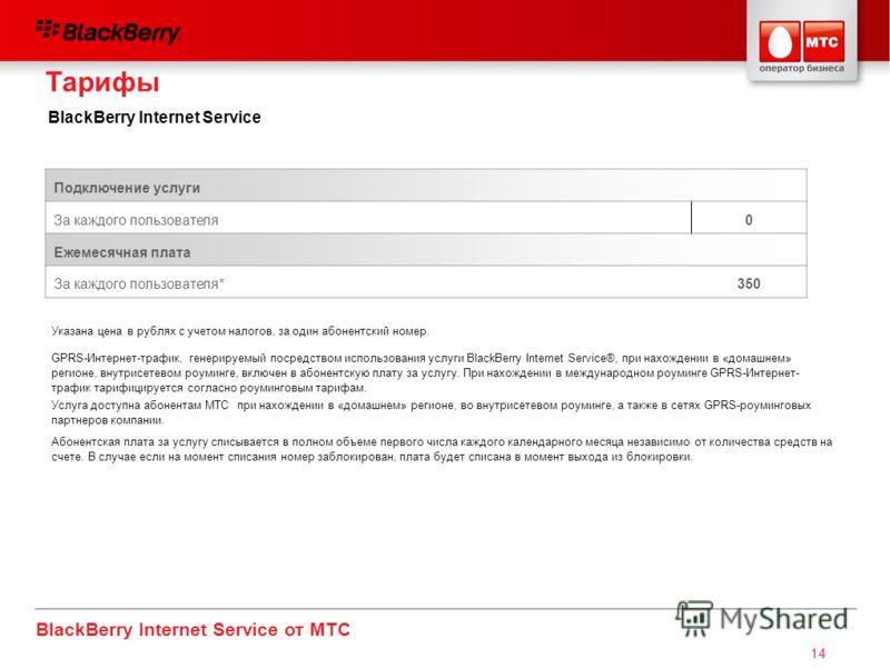 BlackBerry Internet Service от МТС 14 Подключение услуги За каждого пользователя0 Ежемесячная плата За каждого пользователя*350 Указана цена в рублях с учетом налогов, за один абонентский номер. GPRS-Интернет-трафик, генерируемый посредством использо