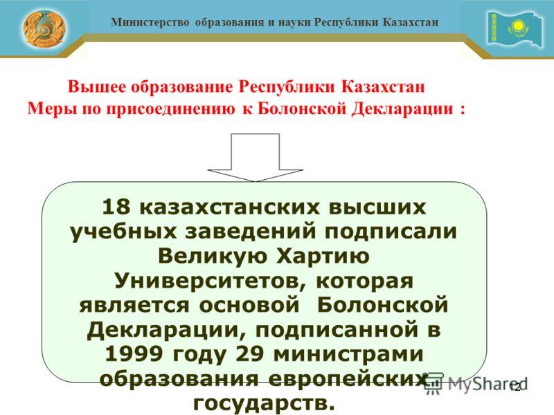 12 Вышее образование Республики Казахстан Меры по присоединению к Болонской Декларации : Министерство образования и науки Республики Казахстан 18 казахстанских высших учебных заведений подписали Великую Хартию Университетов, которая является основой