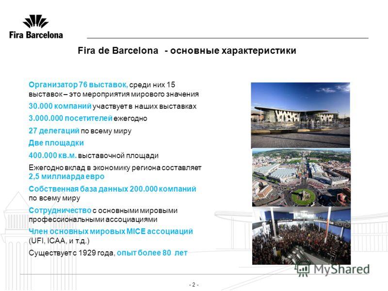 - 2 - Fira de Barcelona - основные характеристики Организатор 76 выставок, среди них 15 выставок – это мероприятия мирового значения 30.000 компаний участвует в наших выставках 3.000.000 посетителей ежегодно 27 делегаций по всему миру Две площадки 40
