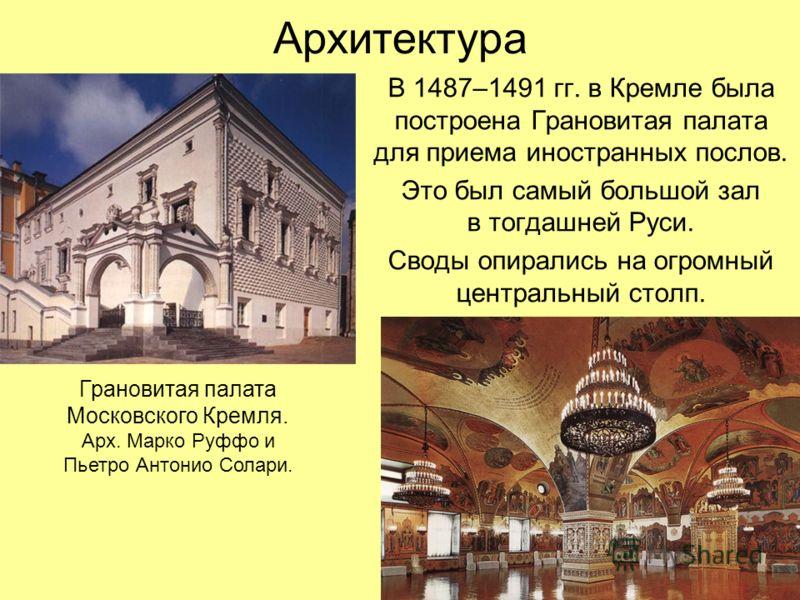 Архитектура В 1487–1491 гг. в Кремле была построена Грановитая палата для приема иностранных послов. Это был самый большой зал в тогдашней Руси. Своды опирались на огромный центральный столп. Грановитая палата Московского Кремля. Арх. Марко Руффо и П