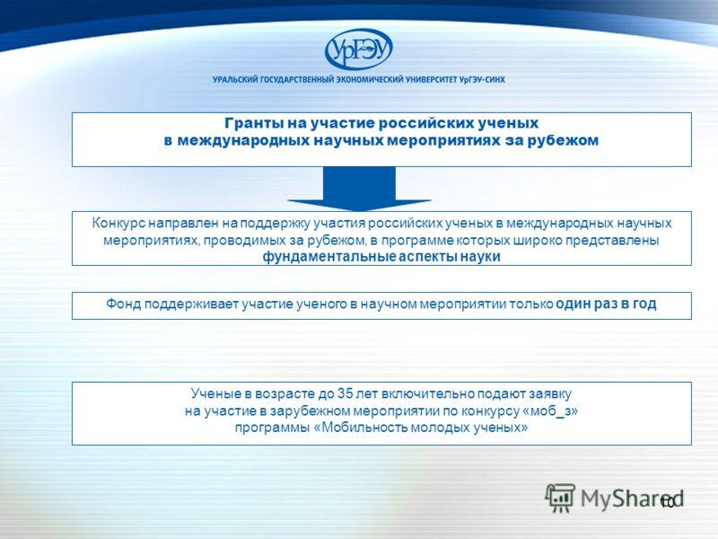 10 Гранты на участие российских ученых в международных научных мероприятиях за рубежом Конкурс направлен на поддержку участия российских ученых в международных научных мероприятиях, проводимых за рубежом, в программе которых широко представлены фунда