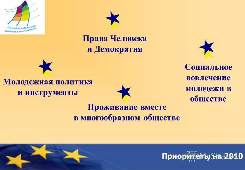 Council of Europe Приоритеты на 2010 Права Человека и Демократия Социальное вовлечение молодежи в обществе Проживание вместе в многообразном обществе Молодежная политика и инструменты