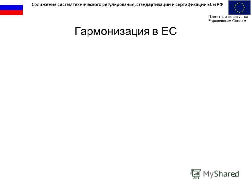 Сближение систем технического регулирования, стандартизации и сертификации ЕС и РФ Проект финансируется Европейским Союзом 5 Гармонизация в ЕС
