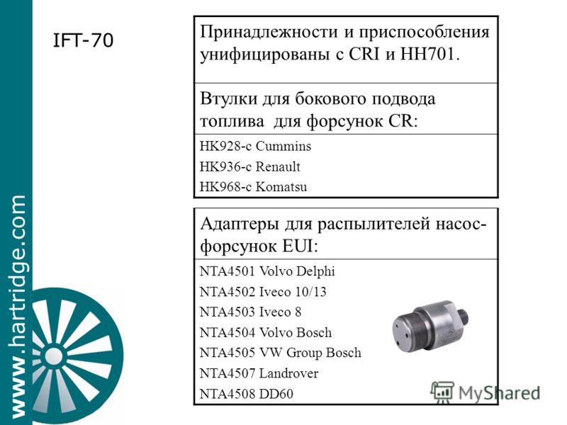 www.hartridge.com Адаптеры для распылителей насос- форсунок EUI: NTA4501 Volvo Delphi NTA4502 Iveco 10/13 NTA4503 Iveco 8 NTA4504 Volvo Bosch NTA4505 VW Group Bosch NTA4507 Landrover NTA4508 DD60 IFT-70 Принадлежности и приспособления унифицированы с
