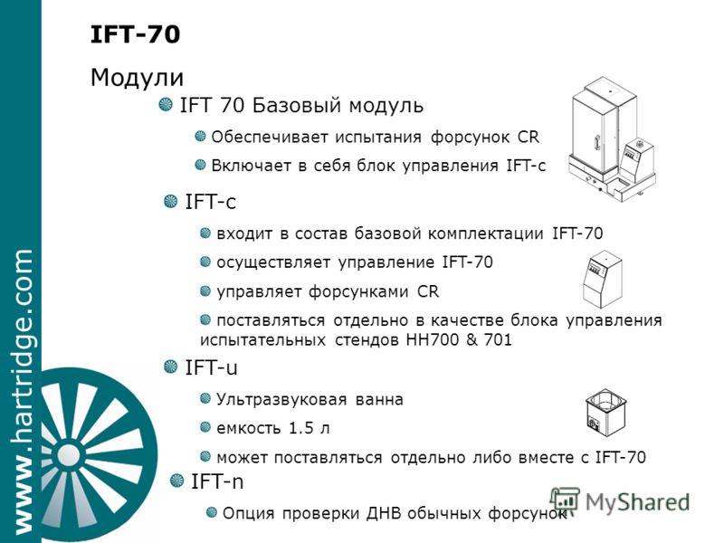www.hartridge.com IFT-70 Модули IFT 70 Базовый модуль Обеспечивает испытания форсунок CR Включает в себя блок управления IFT-c IFT-c входит в состав базовой комплектации IFT-70 осуществляет управление IFT-70 управляет форсунками CR поставляться отдел