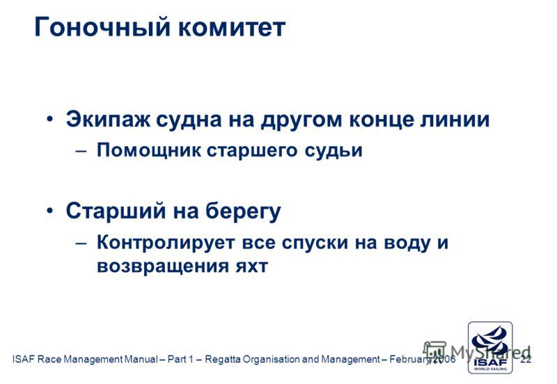 ISAF Race Management Manual – Part 1 – Regatta Organisation and Management – February 2006 22 Гоночный комитет Экипаж судна на другом конце линии –Помощник старшего судьи Старший на берегу –Контролирует все спуски на воду и возвращения яхт