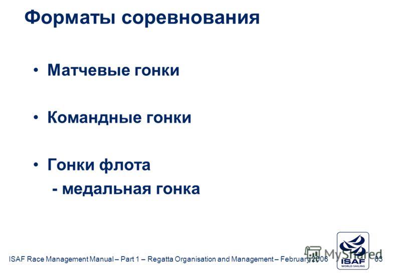 ISAF Race Management Manual – Part 1 – Regatta Organisation and Management – February 2006 63 Форматы соревнования Матчевые гонки Командные гонки Гонки флота - медальная гонка