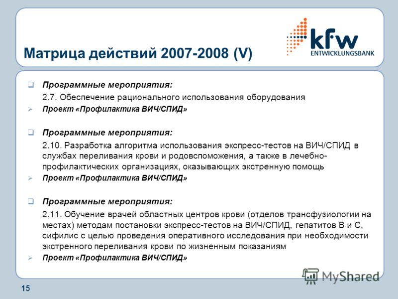 15 Матрица действий 2007-2008 (V) Программные мероприятия: 2.7. Обеспечение рационального использования оборудования Проект «Профилактика ВИЧ/СПИД» Программные мероприятия: 2.10. Разработка алгоритма использования экспресс-тестов на ВИЧ/СПИД в служба